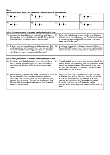 Adding and subtracting mixed numbers and fractions workbook teaching resource