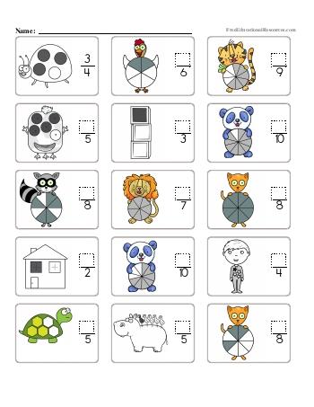 teach Fractions - Missing Numerators - Worksheet #1