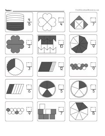 teach Fractions - Missing Numerators - Worksheet #2
