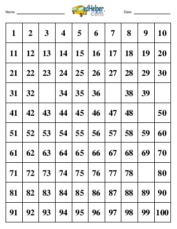 teach Hundreds Chart:  Fill in 5 numbers