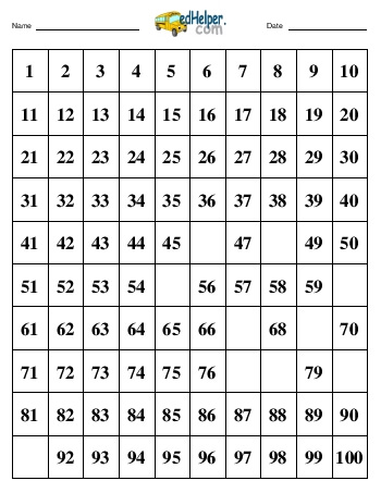 teach Hundreds Chart:  Fill in 10 numbers