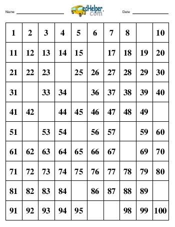 Hundreds Chart:  Fill in 15 numbers worksheet