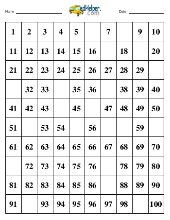 teach Hundreds Chart:  Fill in 20 numbers