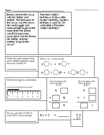 Fourth Grade Math Review worksheet