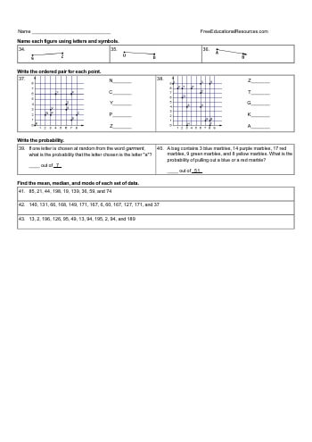Fourth Grade Math Review - Mixed Work worksheet
