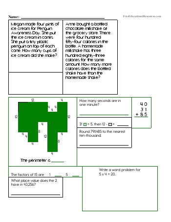 4th Grade Math Review Worksheets Freeeducationalresources