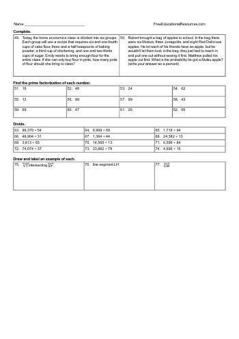 5th grade math mixed review worksheets free