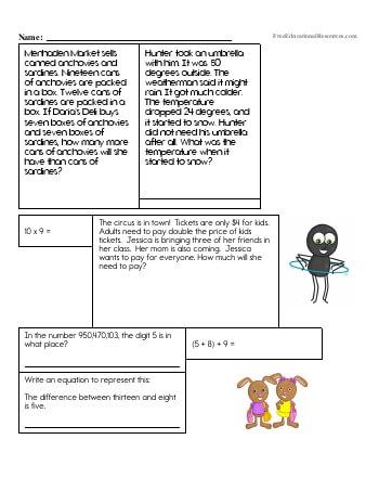5th grade math review worksheets pdf