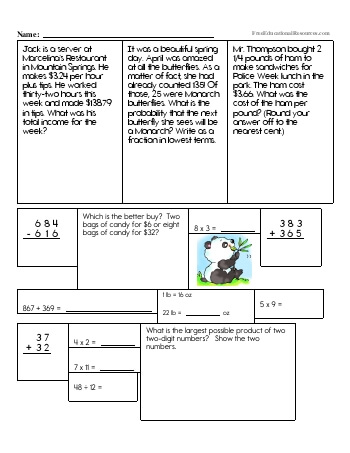 Sixth Grade Math Review teaching resource