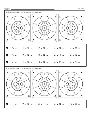 Multiplication Facts: 4s (4 x number) OR (number x 4) worksheet