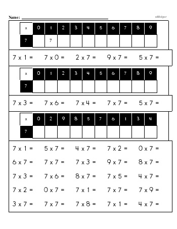 teach Multiplication Facts: 7s (7 x number) OR (number x 7)