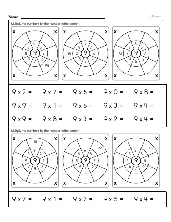 teach Multiplication Facts: 9s (9 x number)