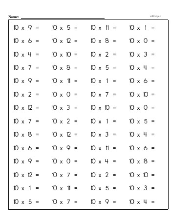 teach Multiplication Facts: 10s (10 x number)