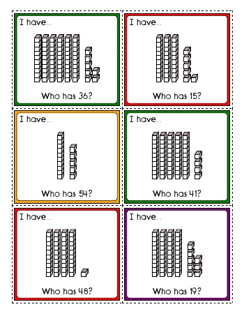 teach I have... Who has? - Tens and Ones Place Value Activity (30 cards)