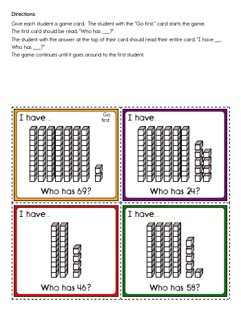 teach I have... Who has? - Tens and Ones Place Value Activity (20 cards)