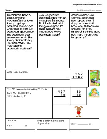 Singapore Math - Fifth Grade Book #2 worksheet