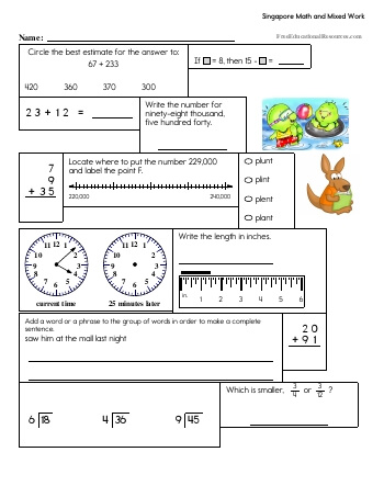 math worksheet : singapore math worksheets  freeeducationalresources  : Singapore Math Worksheets