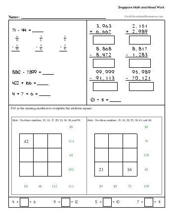 Singapore Math - Fourth Grade Book #2 worksheet