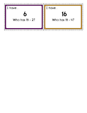 teach I have... Who has? Subtraction: First number 1 to 18.  Second number 1 to 9.