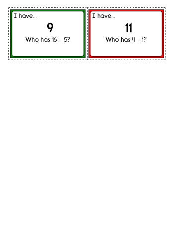 I have... Who has? Subtraction: First number 1 to 18.  Second number 1 to 17. worksheet