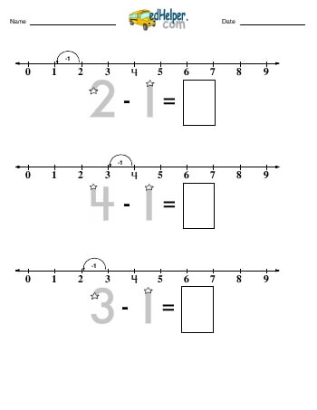 Subtracting -1 worksheet