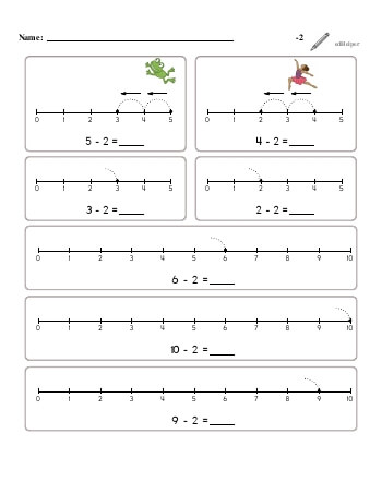 Subtracting -2 worksheet