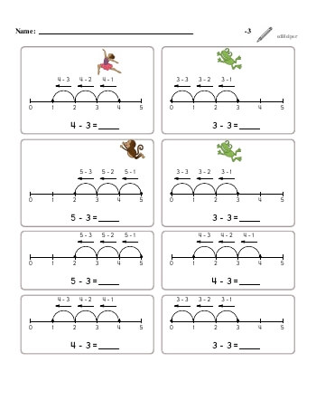 Subtracting -3 worksheet
