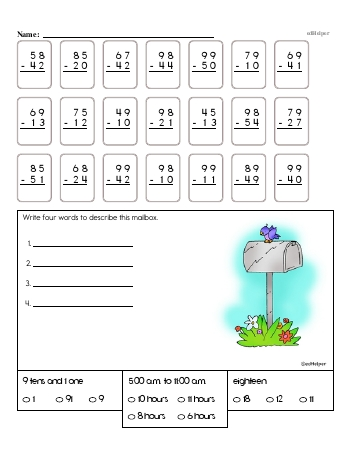 teach 2nd Grade No Prep 2-Digit Subtraction Book (includes mixed work) [No Regrouping]