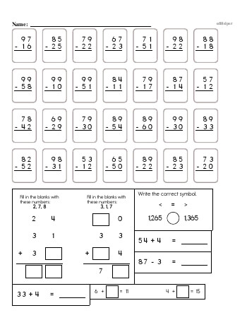 3rd Grade No Prep 2-Digit Subtraction Book (includes mixed work) [No Regrouping] teaching resource