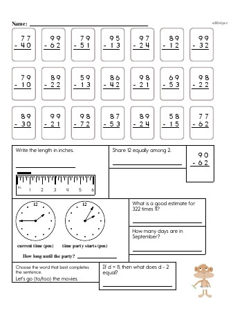 teach 4th Grade No Prep 2-Digit Subtraction Book (includes mixed work) [No Regrouping]