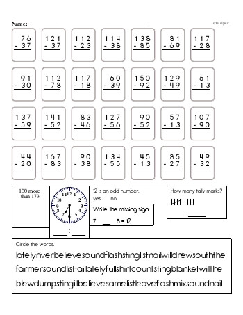 2nd Grade No Prep 2-Digit Subtraction Book (includes mixed work) worksheet