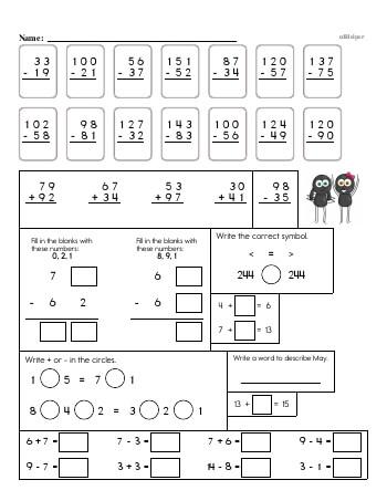 teach 3rd Grade No Prep 2-Digit Subtraction Book (includes mixed work)