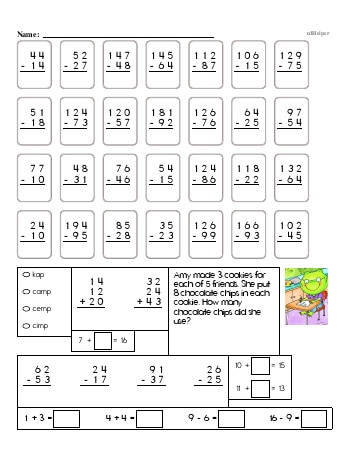 teach 3rd Grade No Prep 2-Digit Subtraction Book (includes mixed work)