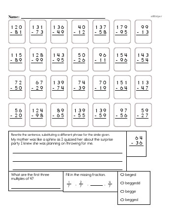 teach 4th Grade No Prep 2-Digit Subtraction Book (includes mixed work)