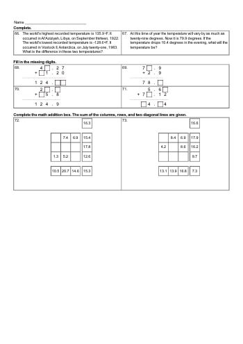 teach Add and Subtract Decimals - 4 Page Review (Book #1)