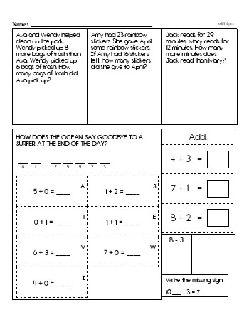 teach First Grade Word Problems Resource Book (Week #6)