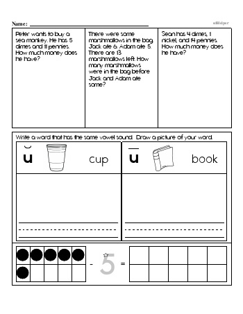 First Grade Word Problems Resource Book (Week #7) teaching resource