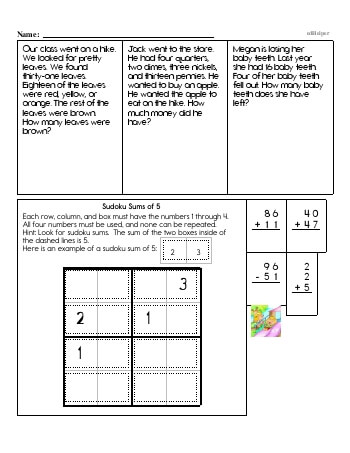 Second Grade Word Problems Resource Book (Week #8) worksheet