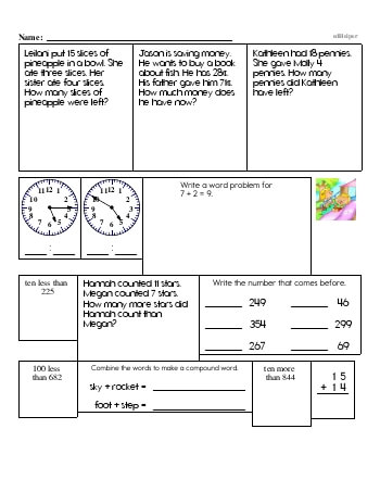 Second Grade Word Problems Resource Book (Week #12) worksheet