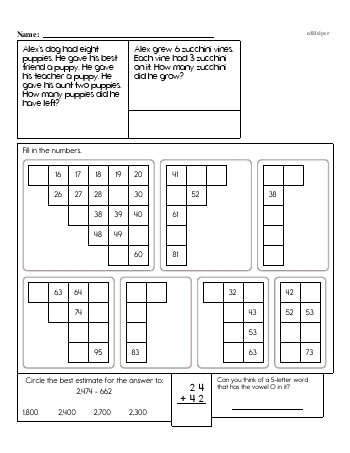 Third Grade Word Problems Resource Book (Week #1) worksheet