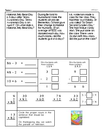 Third Grade Word Problems Resource Book (Week #7) worksheet