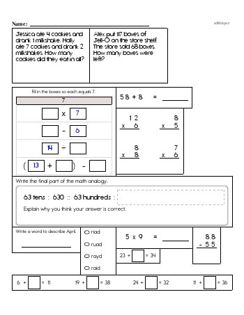 Third Grade Word Problems Resource Book (Week #13) worksheet