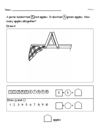First Math Word Problems (book 4) worksheet
