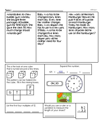 teach Fourth Grade Word Problems Resource Book (Week #1)