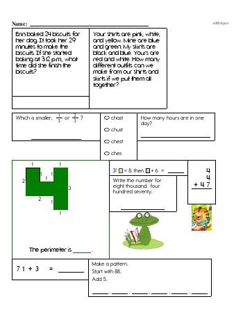 Fourth Grade Word Problems Resource Book (Week #10) worksheet