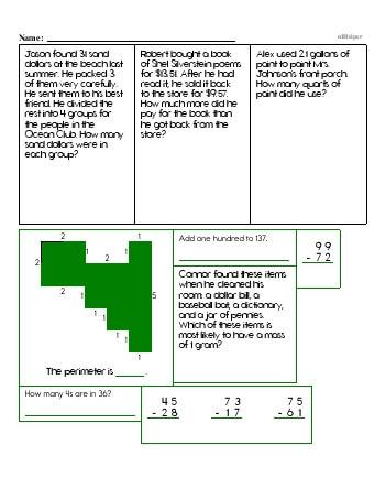 Fourth Grade Word Problems Resource Book (Week #12) teaching resource