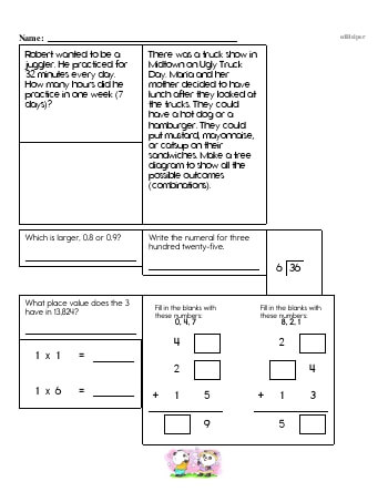 Fourth Grade Word Problems Resource Book (Week #15) worksheet