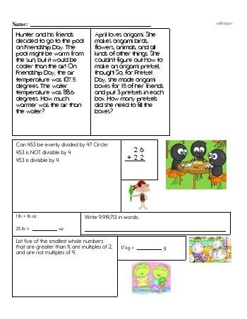 teach Fifth Grade Word Problems Resource Book (Week #10)