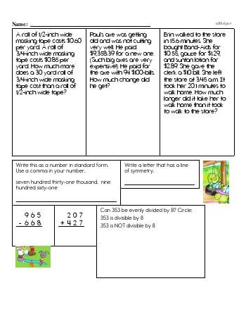 teach Fifth Grade Word Problems Resource Book (Week #11)