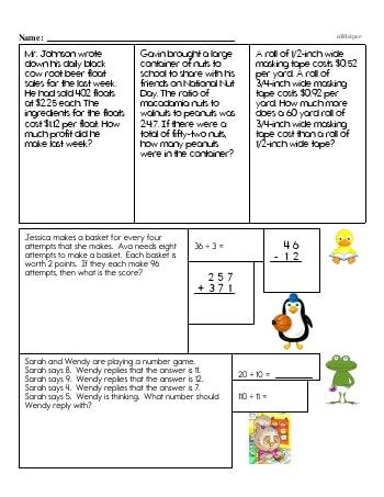 Sixth Grade Word Problems Resource Book (Week #4) worksheet